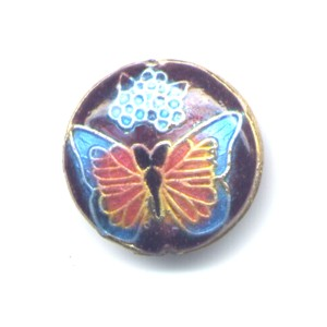 Butterfly Blue Walnut cloisonné bead 20mm coin