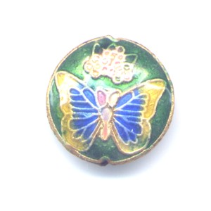 Butterfly Gold Green cloisonné bead 20mm coin