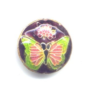 Butterfly Lime Black cloisonné bead 20mm coin