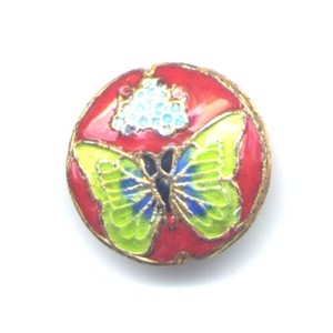 Butterfly Lime Copper cloisonné bead 20mm coin