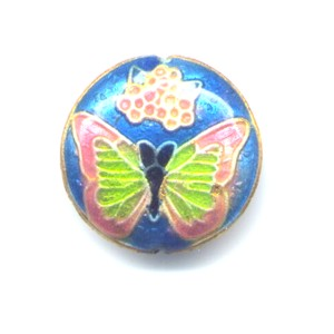 Butterfly Peach Capri cloisonné bead 20mm coin