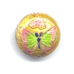 Butterfly Peach Gold cloisonné bead 20mm coin