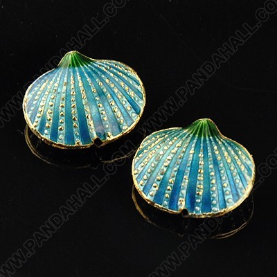 SeaShell Sea Green cloisonné bead 17x20mm