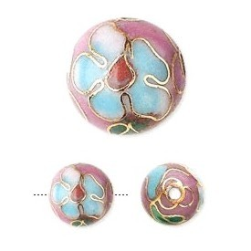 Rose cloisonné bead 10mm round