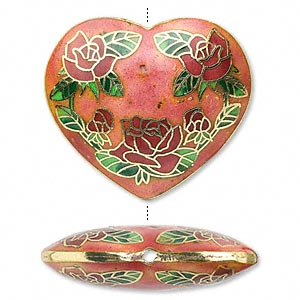 Heart with Red Roses cloisonné bead 40mm