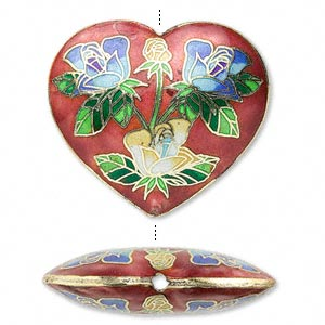 Heart with Blue Roses cloisonné bead 40mm
