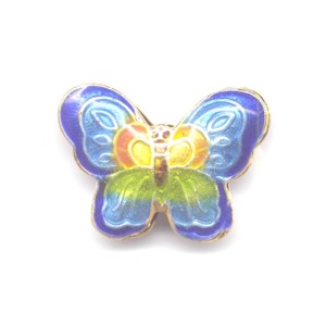 Butterfly Cobalt Edge cloisonné bead 17x23mm