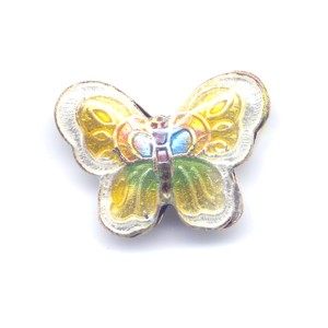 Butterfly White Edge cloisonné bead 17x23mm