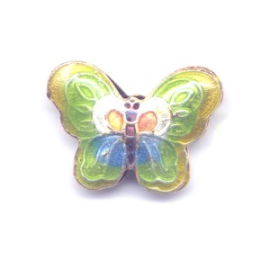 Butterfly Yellow Edge cloisonné bead 17x23mm