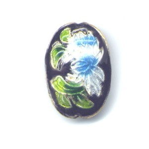 Floral Oval Black cloisonné bead 15mm by 20mm