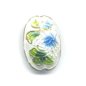 Floral Oval White cloisonné bead 15mm by 20mm
