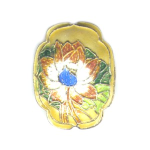 Flower Shield Gold cloisonné bead 25mm by 30mm