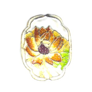 Flower Shield White cloisonné bead 25mm by 30mm