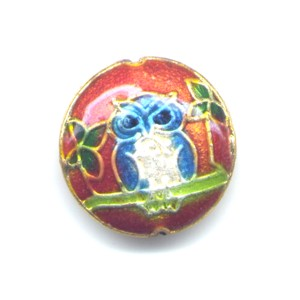 Owl Burnt Orange cloisonné bead 20mm coin