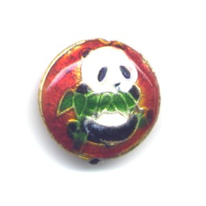 Burnt Orange Panda cloisonné bead 20mm coin