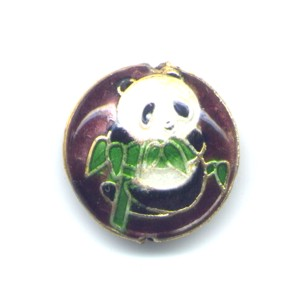 Deep Copper Panda cloisonné bead 20mm coin