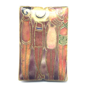 Sun Tan cloisonné bead 59x40mm Copper
