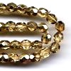 50 4mm Gold Metallic Sparkle Faceted
