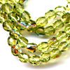 50 4mm Light Olive Sparkle Faceted