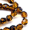 25 6mm Amber with Black Faceted