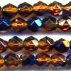 25 6mm Amber Blue Sparkle Faceted