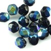 25 6mm Black Iridescent Sparkle Faceted