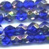25 6mm Cobalt Silver Sparkle Faceted