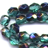 25 6mm Teal Dark Sparkle Faceted