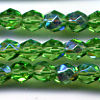25 6mm Green Sparkle Faceted