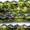 25 6mm Light Olive Sparkle Faceted