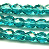 25 6mm Light Teal Sparkle Faceted