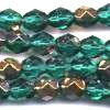 25 6mm Teal Gold Sparkle Faceted