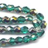 25 6mm Teal Silver Sparkle Faceted