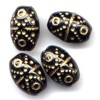 10 Black with Gold 10x15mm Beads