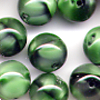 15 Green Marbled Round 10mm Beads