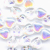 25 Iridescent Clear Hearts 6mm