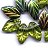 25 Olive Sparkle Leaves w/gold 7x12mm