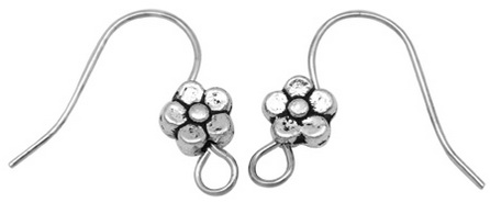Flower French Hook Nickel Plated, 5 Pair