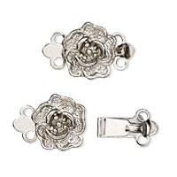 Silver Colored Rose 2 strand box clasp set.