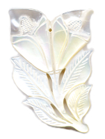 Carved Mother of Pearl Flower 65x40mm