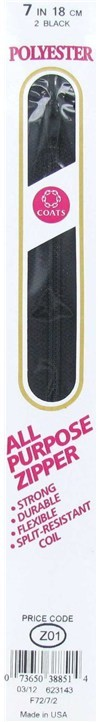 7 inch Polyester Zipper Black