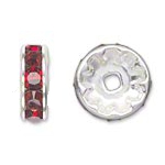 6 Red 8mm Rhinestone Rondelle