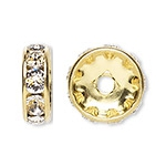 7 Crystal in Gold 8mm Rhinestone Rondelle