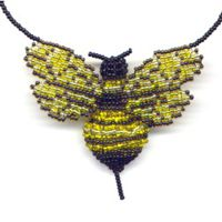3D Beaded Bumble Bee Necklace Finished Product by Dragon