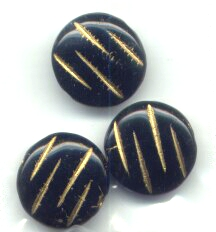 3 Black with Gold 16mm Flat Disks