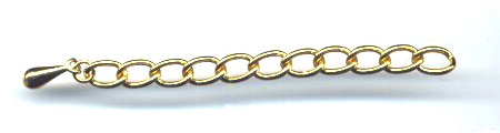 Chain Necklace Extention, Gold Color, 2 and 1/2 inches long