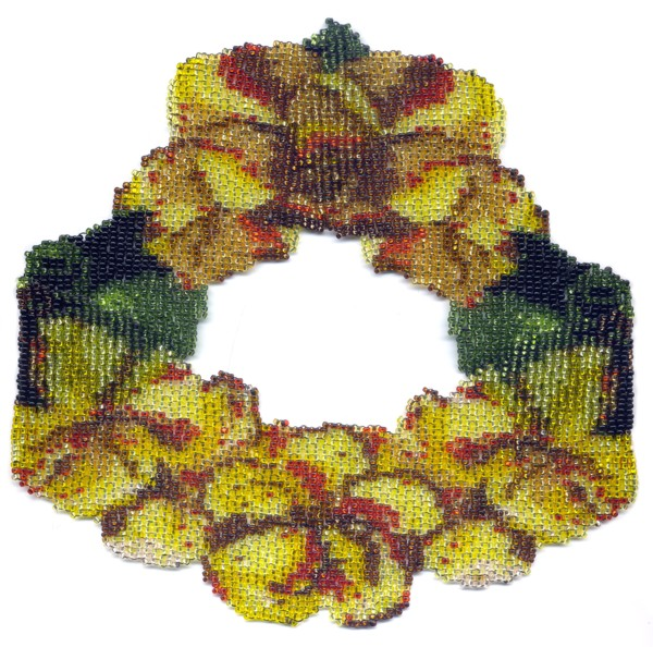 Yellow Poppies Weave Necklace by Dragon