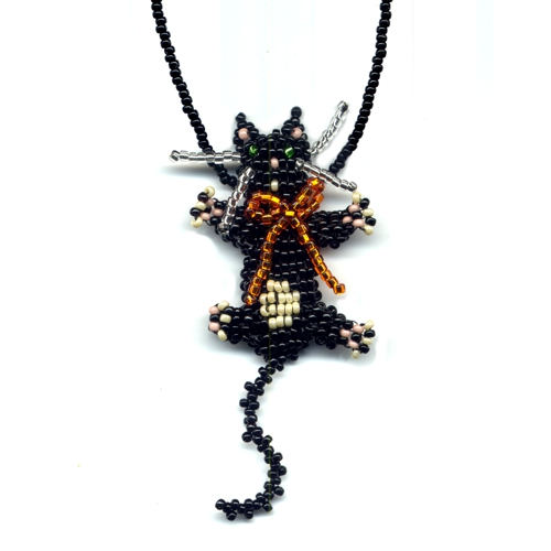 3d Beaded Black Cat