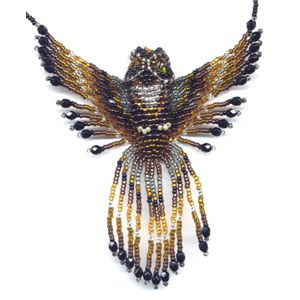 3D Beaded Horned Owl - Click Image to Close