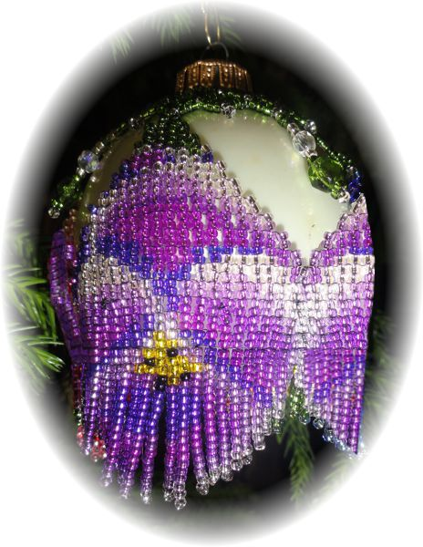Purple Pansy Christmas Ornament Pattern and Kit